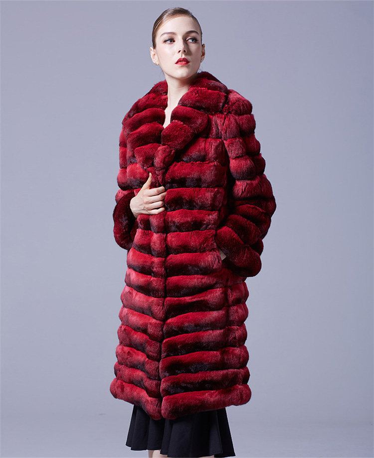 Chinchilla Fur Long Coat 048 Details 5