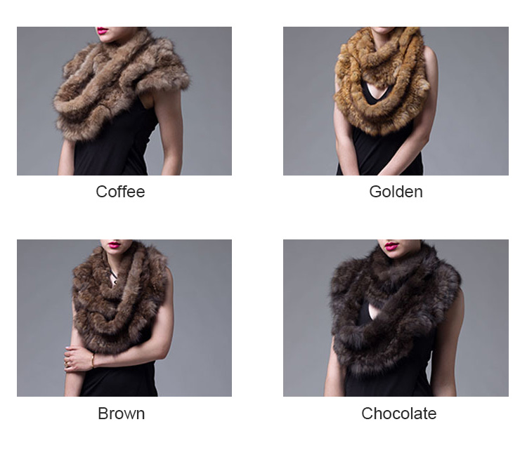 Knitted Sable Fur Infinity Scarf Wrap 058 Colors