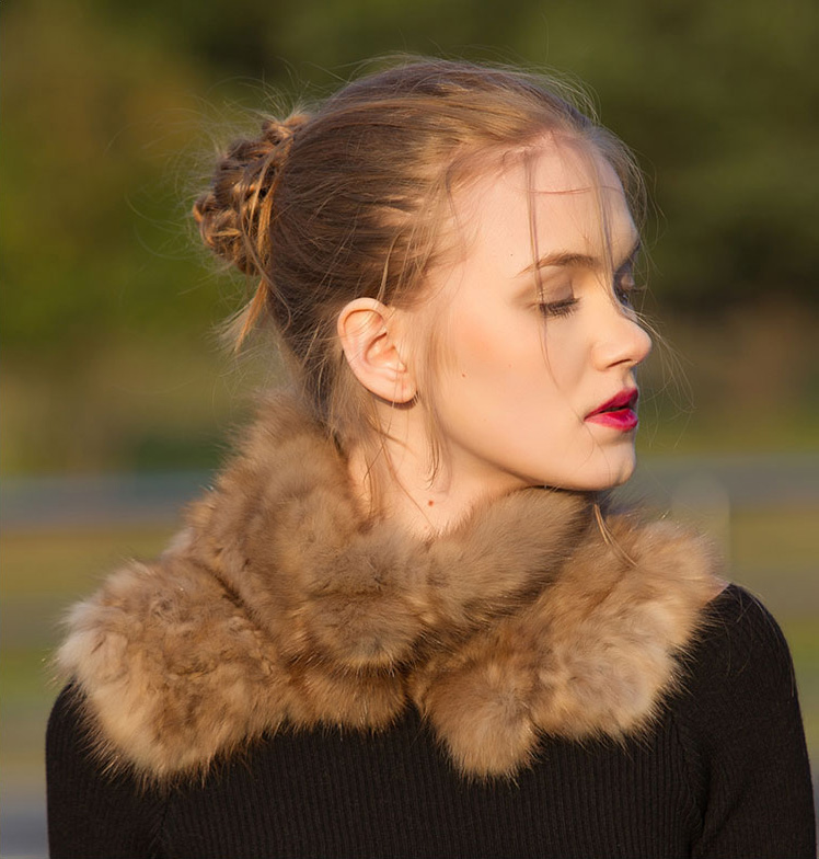 Knitted Sable Fur Neck Warmer Scarf 072 Details 2