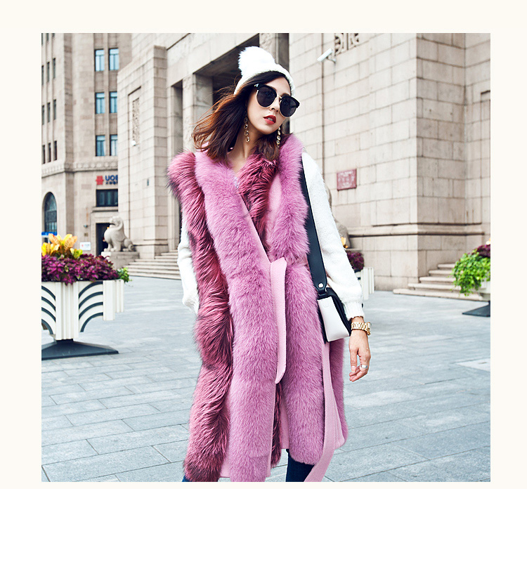 Fox Fur Long Vest 075 Details 3