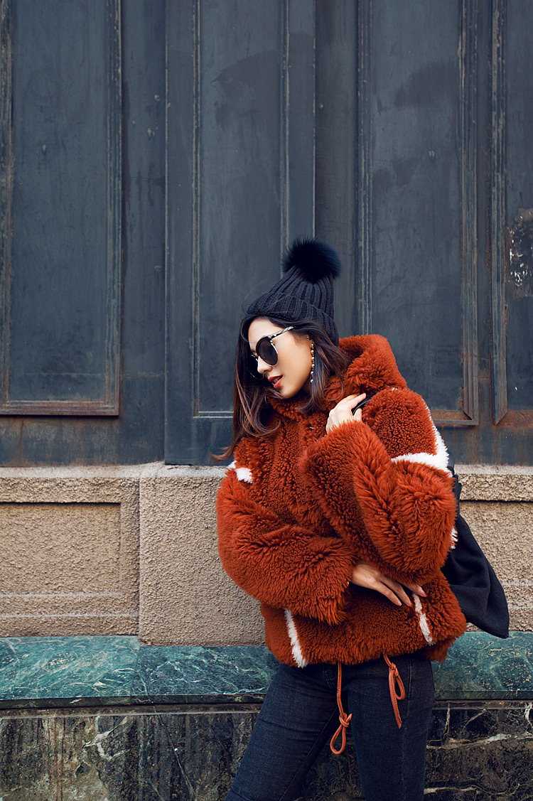 Merino Shearling Sheep Fur Coat 081 Details 1