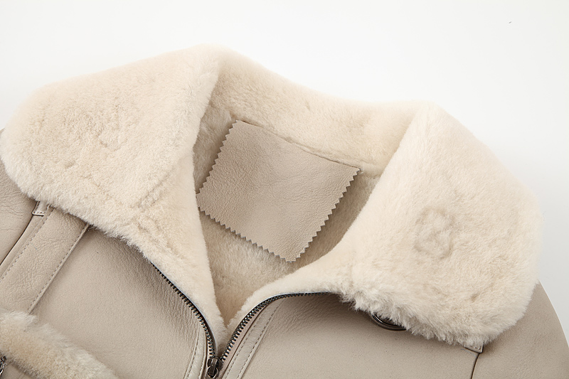 Shearling Sheepskin Cropped Jacket 088 Details 10