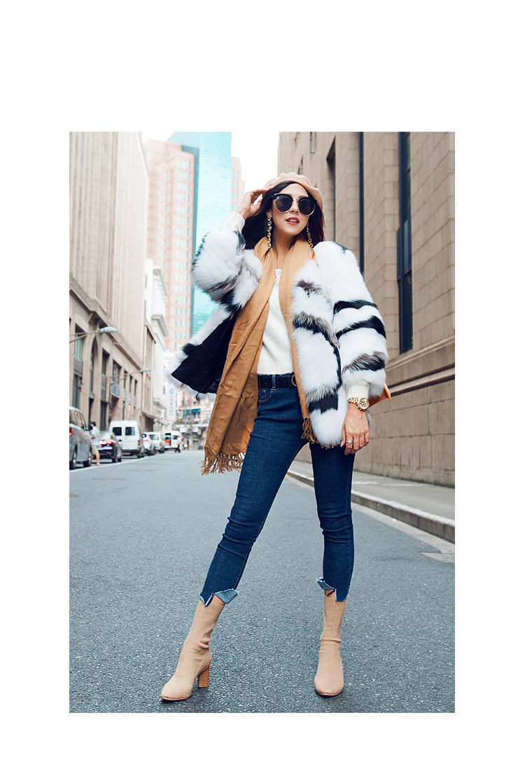 White Fox Fur Jacket with Black Stripes 095 Details 6