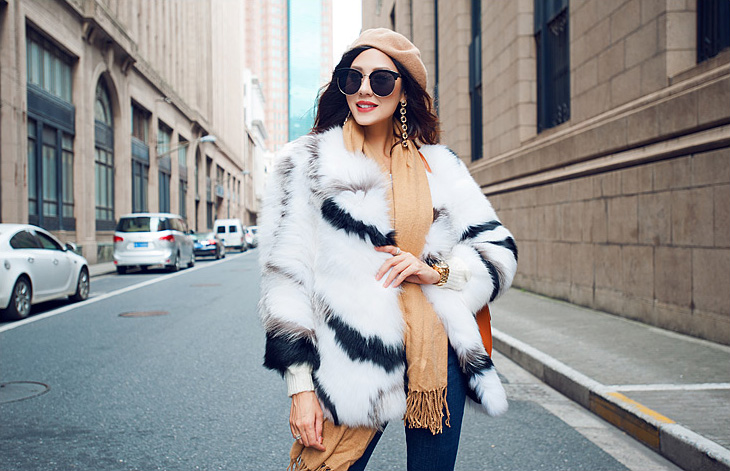 White Fox Fur Jacket with Black Stripes 095 Details 8