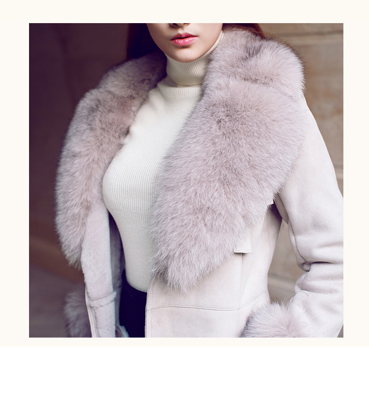 Belted Shearling Sheepskin Coat with Fox Fur Trim 101 Details 1