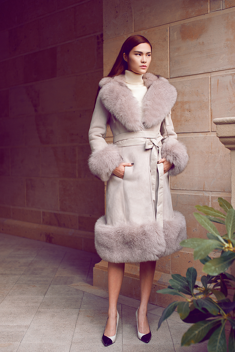 Belted Shearling Sheepskin Coat with Fox Fur Trim 101 Details 2