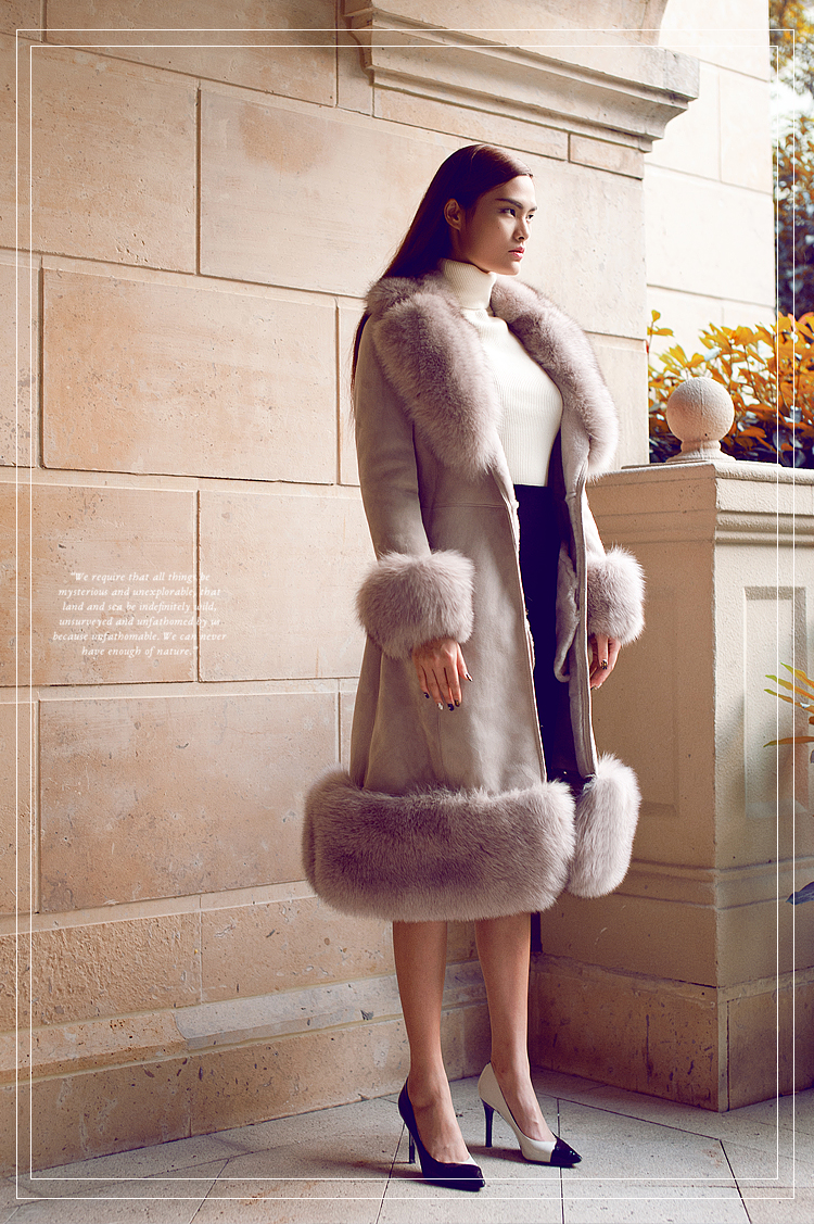 Belted Shearling Sheepskin Coat with Fox Fur Trim 101 Details 3