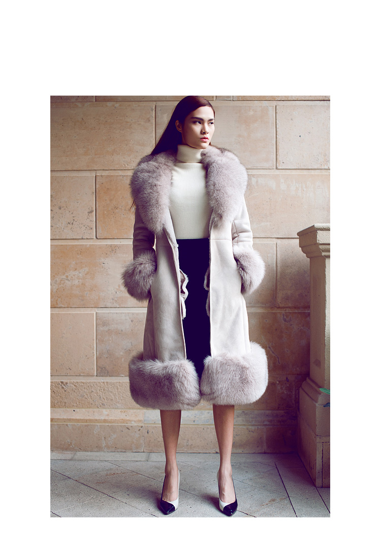 Belted Shearling Sheepskin Coat with Fox Fur Trim 101 Details 4