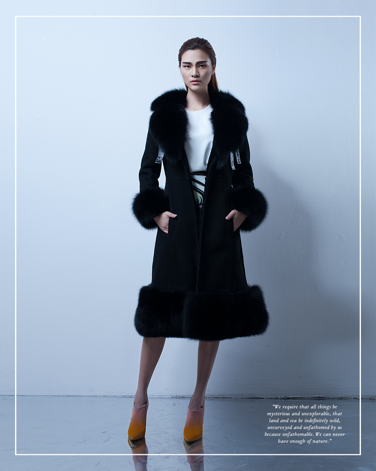 Belted Shearling Sheepskin Coat with Fox Fur Trim 101 Details 5