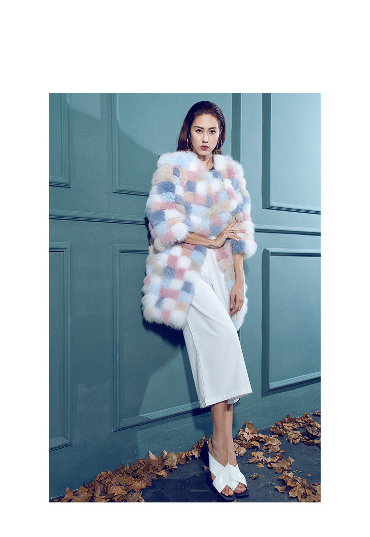 Multicolored Fox Fur Coat 110 Details 1