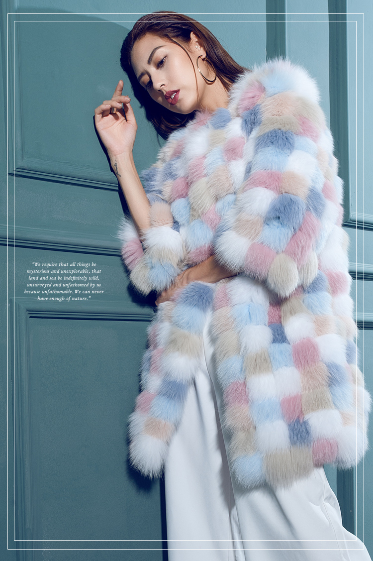 Multicolored Fox Fur Coat 110 Details 3