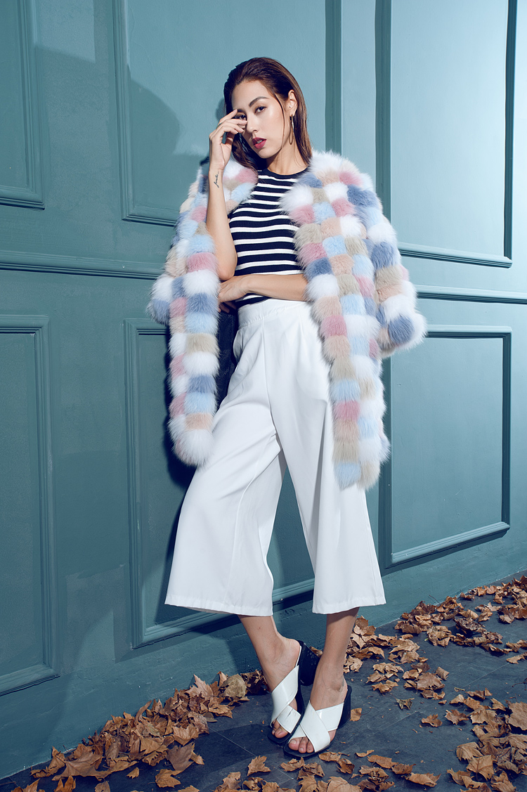 Multicolored Fox Fur Coat 110 Details 6