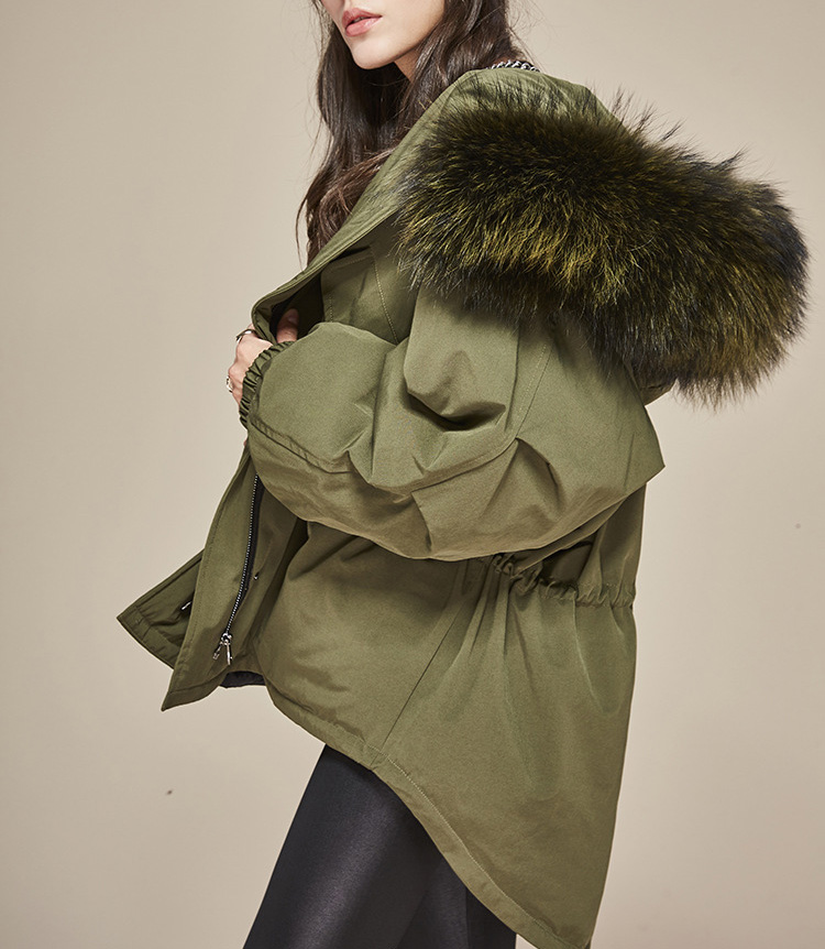 Raccoon Fur Trimmed Hooded Down-filled Parka 112 Details 1