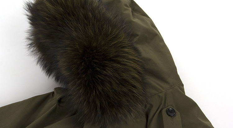 Raccoon Fur Trimmed Hooded Down-filled Parka 112 Details 13