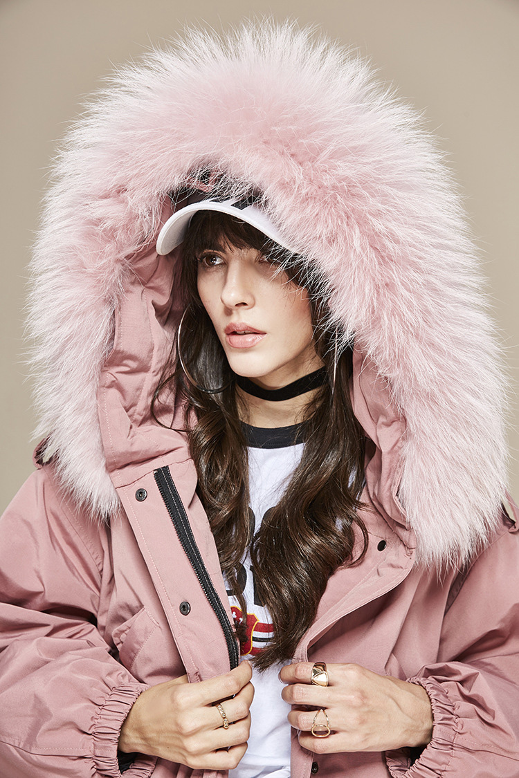Raccoon Fur Trimmed Hooded Down-filled Parka 112 Details 14