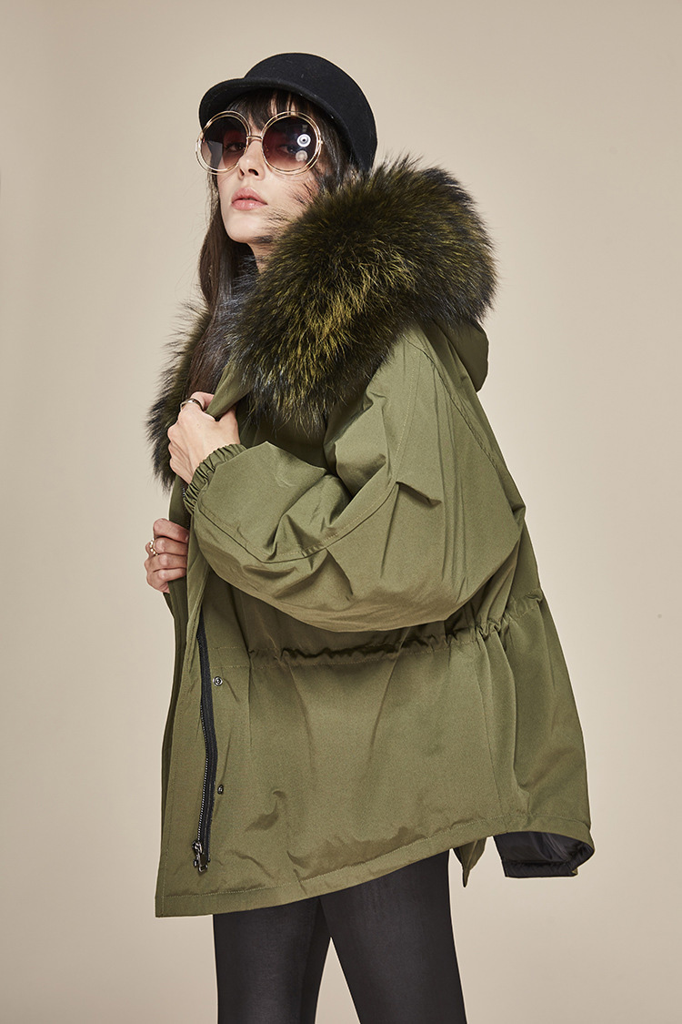 Raccoon Fur Trimmed Hooded Down-filled Parka 112 Details 2