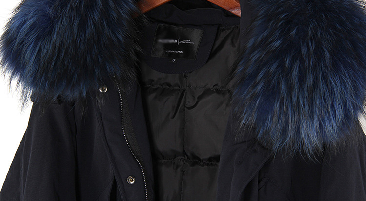 Raccoon Fur Trimmed Hooded Down-filled Parka 112 Details 21