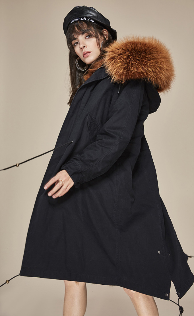 Raccoon Fur Trimmed Hooded Parka with Detachable Fox Fur Liner 113 Details 10