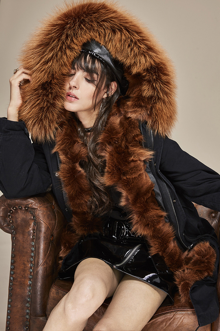 Raccoon Fur Trimmed Hooded Parka with Detachable Fox Fur Liner 113 Details 11