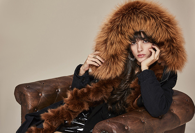 Raccoon Fur Trimmed Hooded Parka with Detachable Fox Fur Liner 113 Details 12