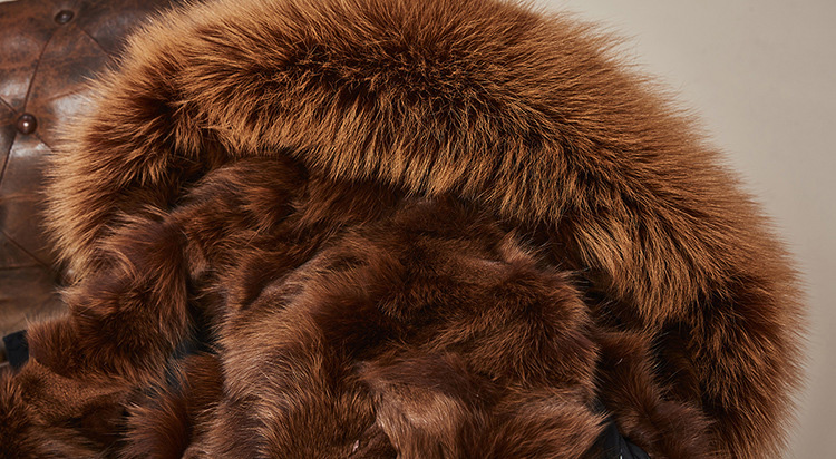 Raccoon Fur Trimmed Hooded Parka with Detachable Fox Fur Liner 113 Details 16