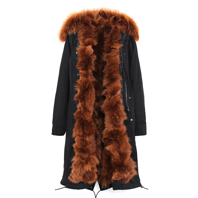 Raccoon Fur Trimmed Hooded Parka with Detachable Fox Fur Liner 113 Details 2
