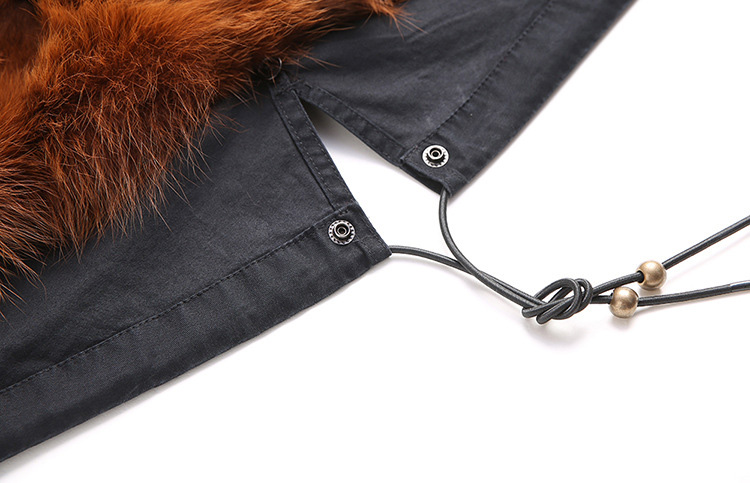 Raccoon Fur Trimmed Hooded Parka with Detachable Fox Fur Liner 113 Details 20