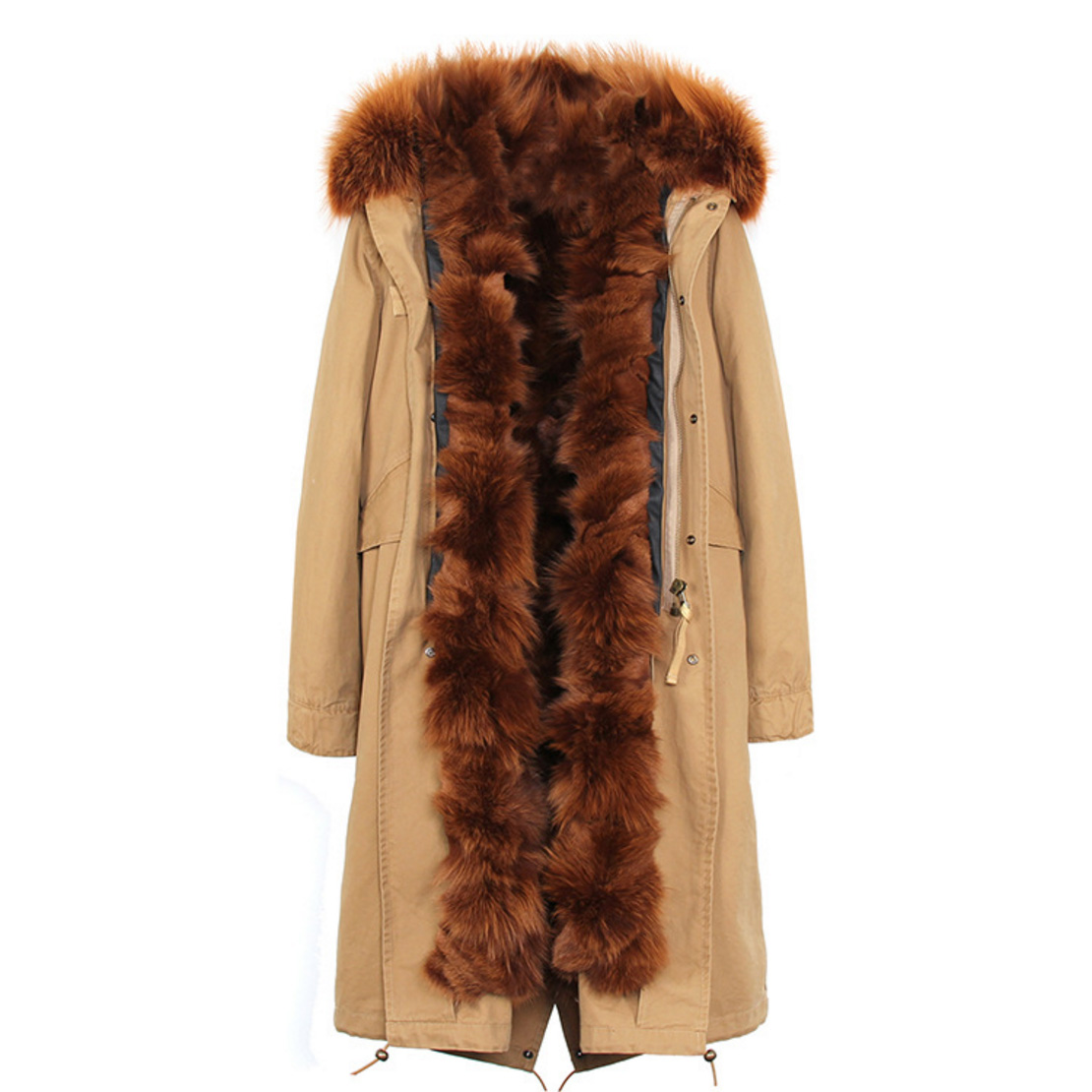 Raccoon Fur Trimmed Hooded Parka with Detachable Fox Fur Liner 113 Details 3