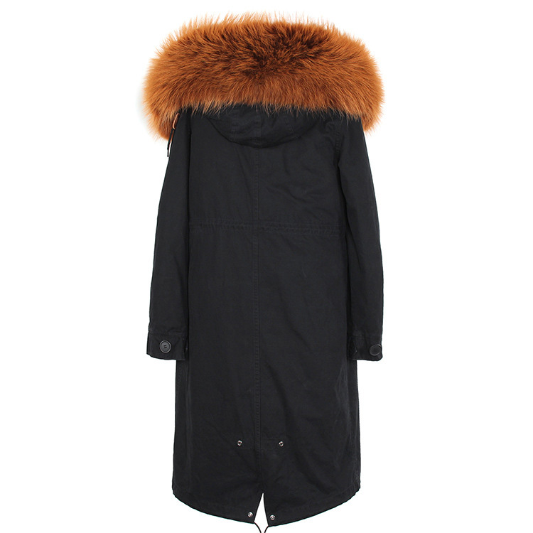 Raccoon Fur Trimmed Hooded Parka with Detachable Fox Fur Liner 113 Details 4