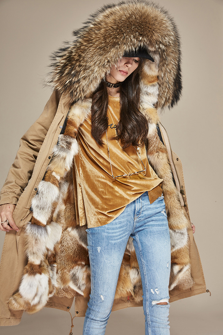 Raccoon Fur Trimmed Hooded Parka with Detachable Fox Fur Liner 113 Details 5