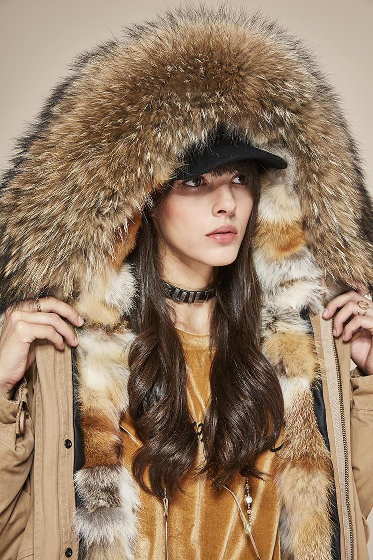 Raccoon Fur Trimmed Hooded Parka with Detachable Fox Fur Liner 113 Details 7