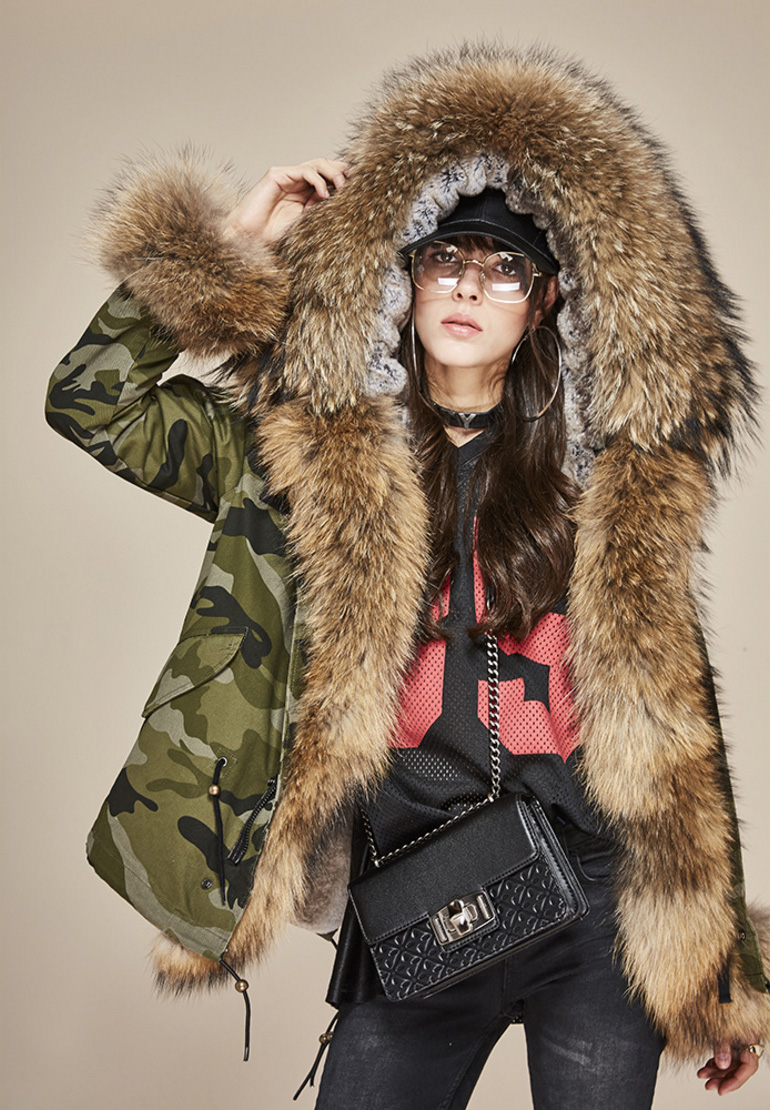 Raccoon Fur Trimmed Hooded Parka with Detachable Rex Rabbit Fur Liner 115 Details 1
