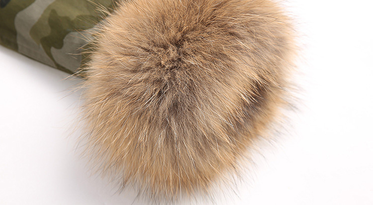 Raccoon Fur Trimmed Hooded Parka with Detachable Rex Rabbit Fur Liner 115 Details 10
