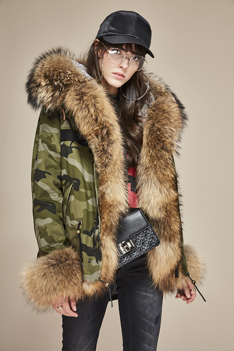 Raccoon Fur Trimmed Hooded Parka with Detachable Rex Rabbit Fur Liner 115 Details 2