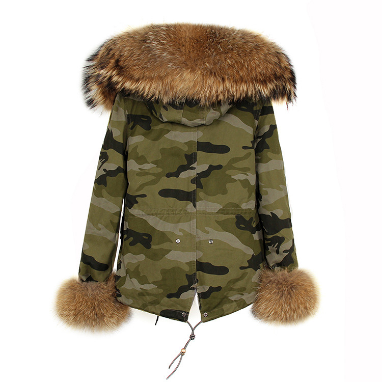 Raccoon Fur Trimmed Hooded Parka with Detachable Rex Rabbit Fur Liner 115 Details 5