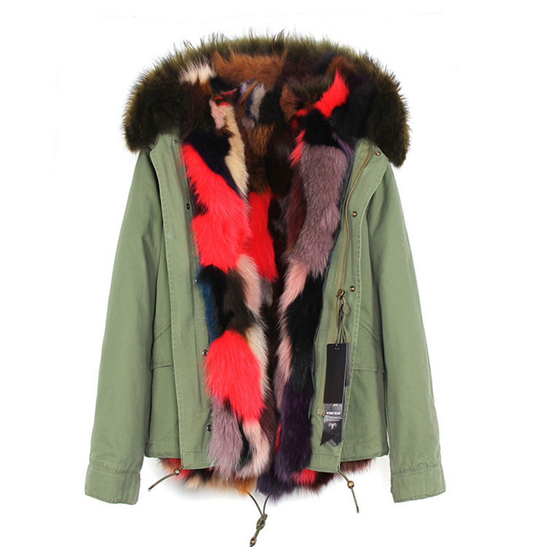 Raccoon Fur Trimmed Hooded Parka with Detachable Fox Fur Liner 116d Details 1