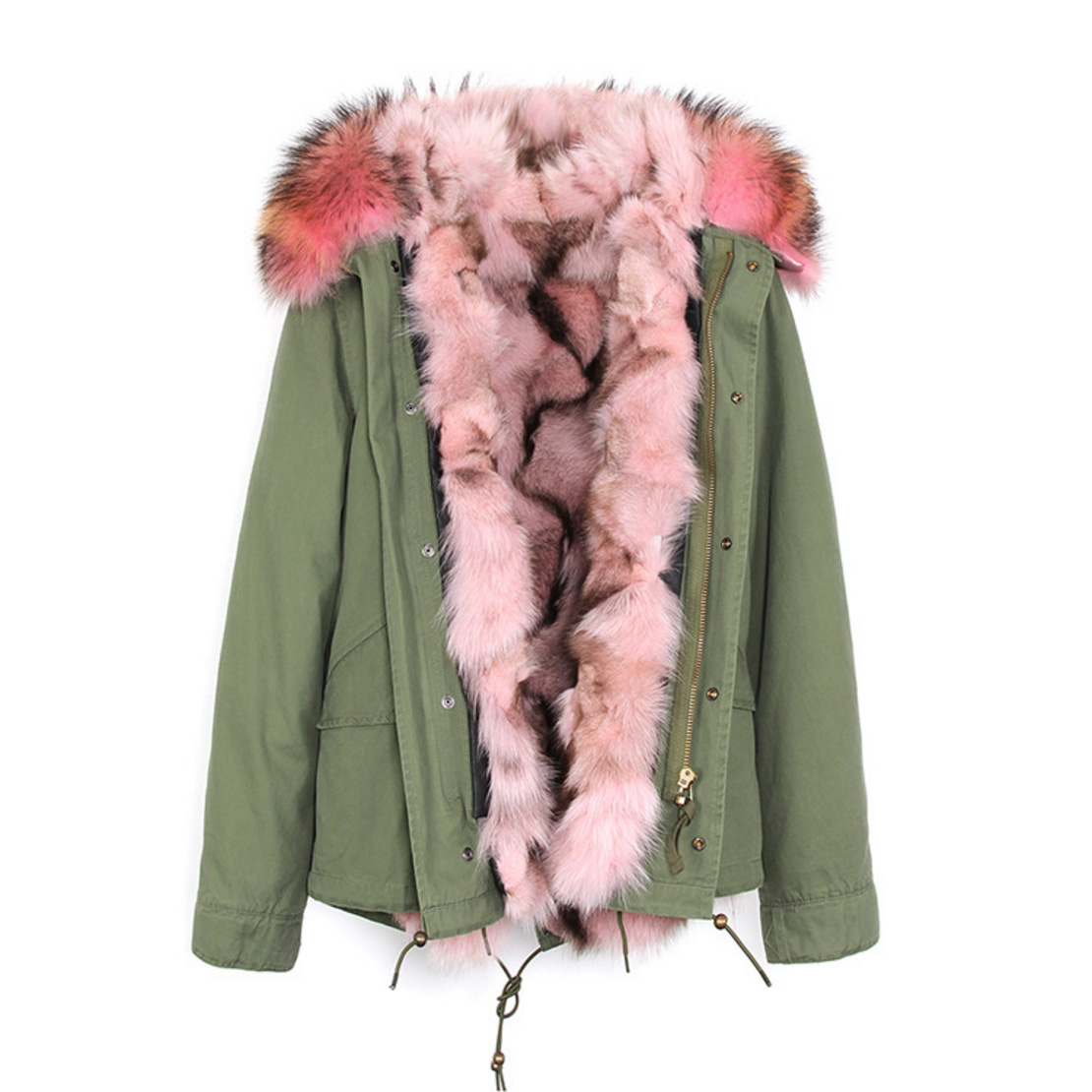 Raccoon Fur Trimmed Hooded Parka with Detachable Fox Fur Liner 116d Details 2
