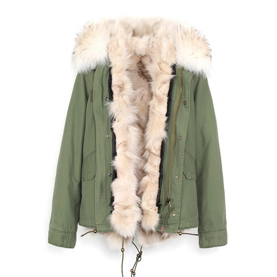 Raccoon Fur Trimmed Hooded Parka with Detachable Fox Fur Liner 116d Details 3