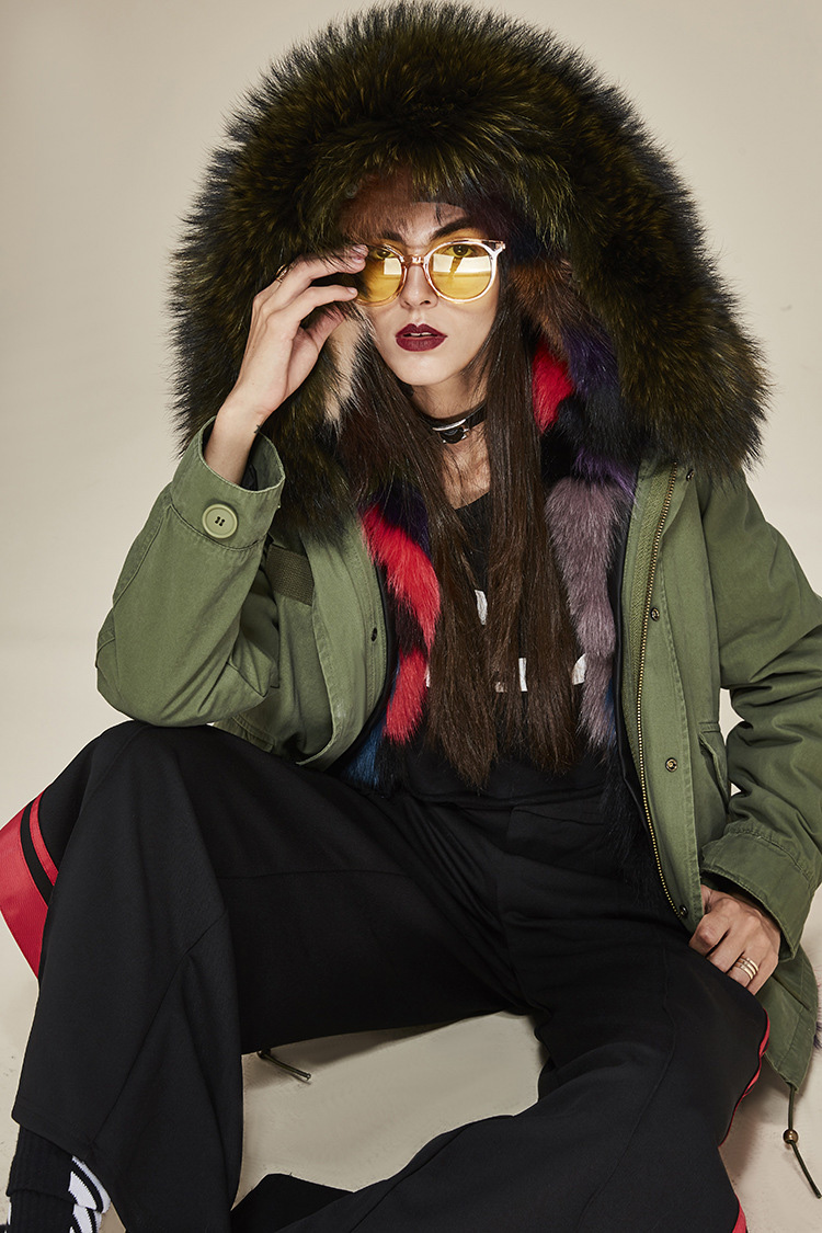 Raccoon Fur Trimmed Hooded Parka with Detachable Fox Fur Liner 116d Details 4