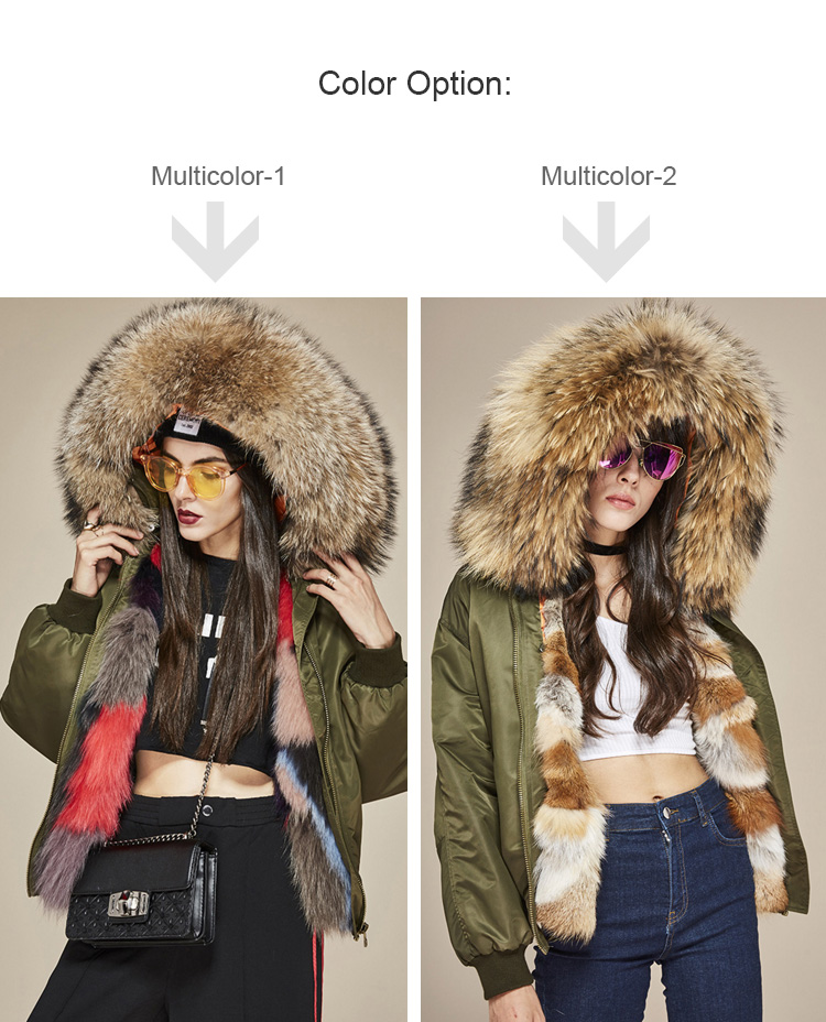 Raccoon Fur Trimmed Hooded Jacket with Detachable Fox Fur Liner 117 Details 0