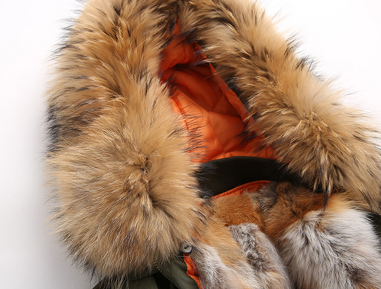 Raccoon Fur Trimmed Hooded Jacket with Detachable Fox Fur Liner 117 Details 2
