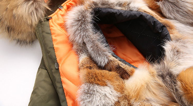 Raccoon Fur Trimmed Hooded Jacket with Detachable Fox Fur Liner 117 Details 3