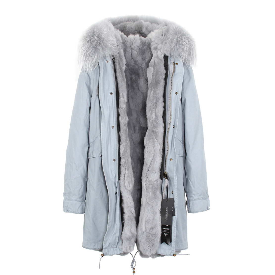Raccoon Fur Trimmed Hooded Parka with Detachable Rex Rabbit Fur Liner 118 Details a1