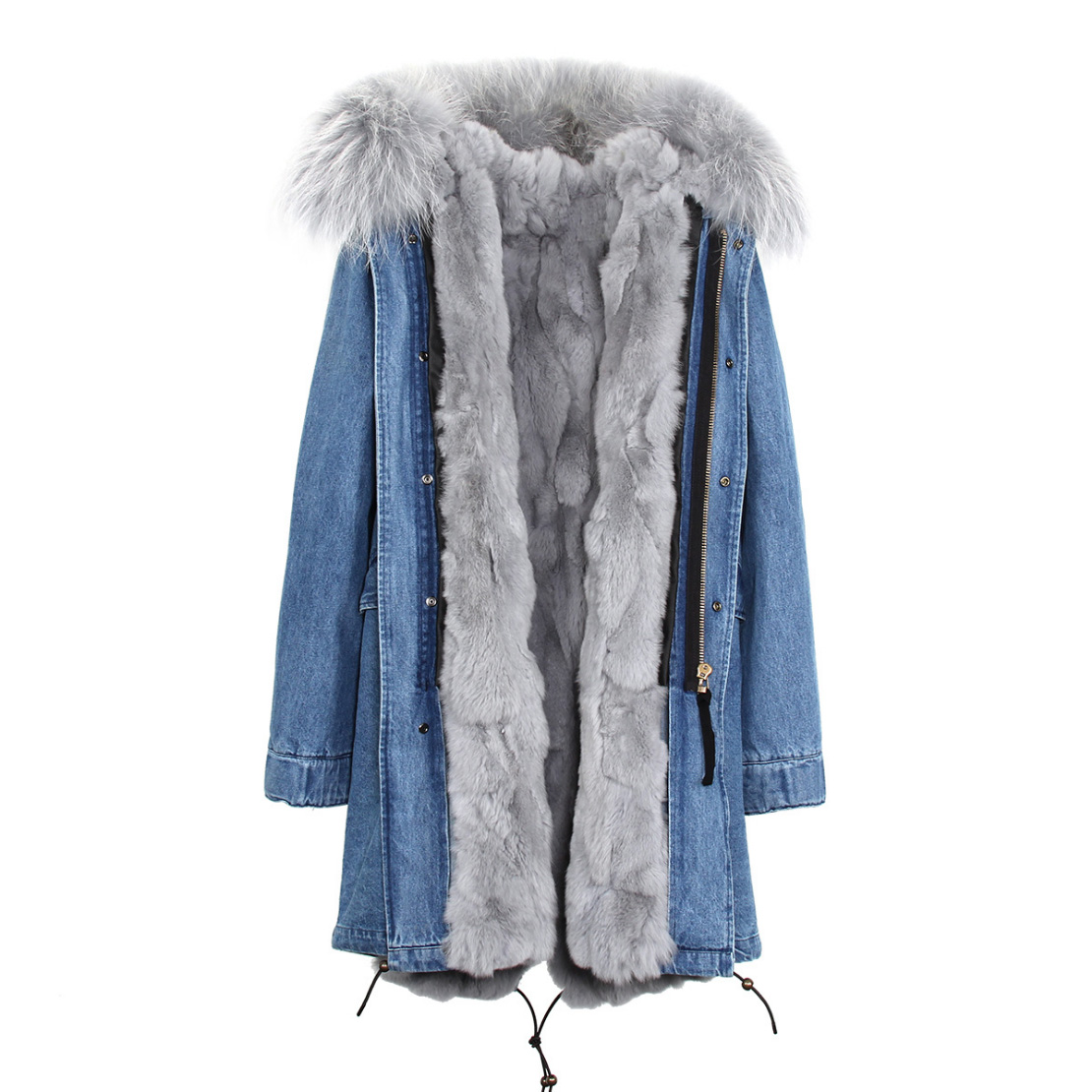 Raccoon Fur Trimmed Hooded Parka with Detachable Rex Rabbit Fur Liner 118 Details a2