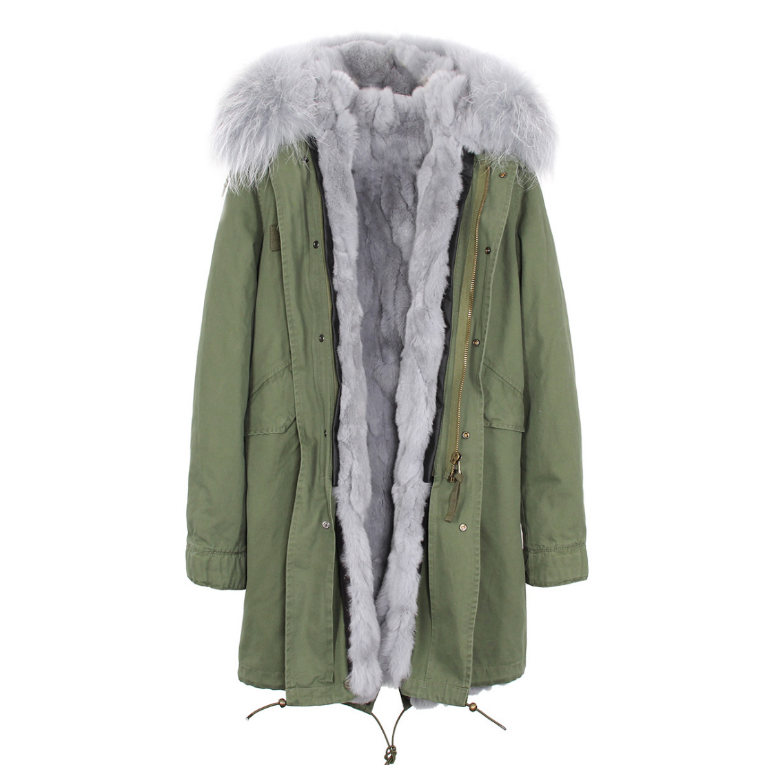 Raccoon Fur Trimmed Hooded Parka with Detachable Rex Rabbit Fur Liner 118 Details a3