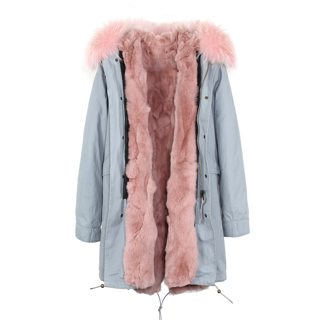 Raccoon Fur Trimmed Hooded Parka with Detachable Rex Rabbit Fur Liner 118 Details b1