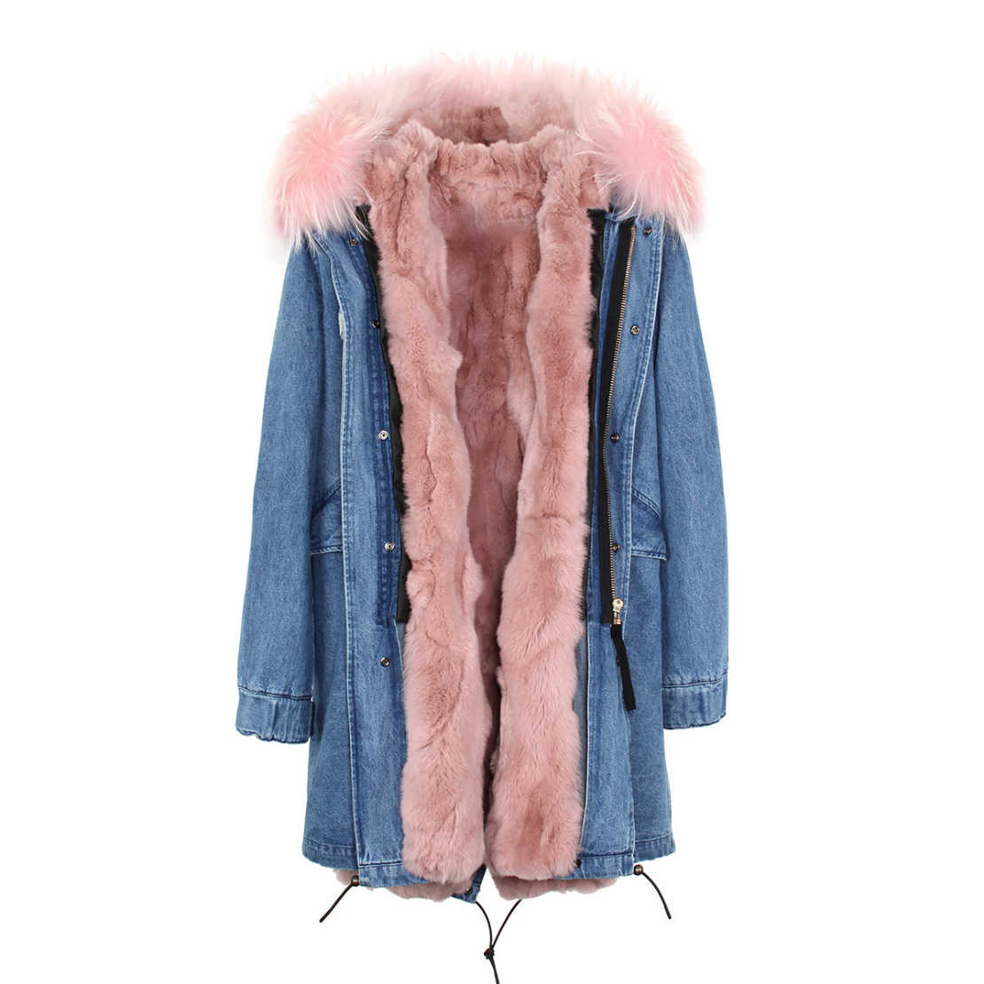 Raccoon Fur Trimmed Hooded Parka with Detachable Rex Rabbit Fur Liner 118 Details b2