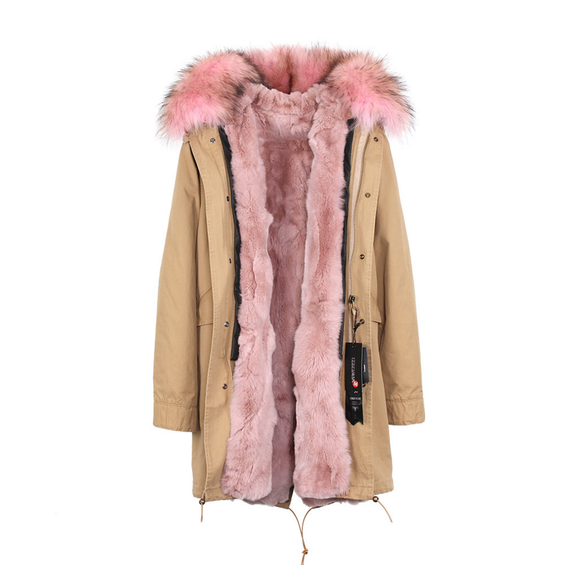 Raccoon Fur Trimmed Hooded Parka with Detachable Rex Rabbit Fur Liner 118 Details b5