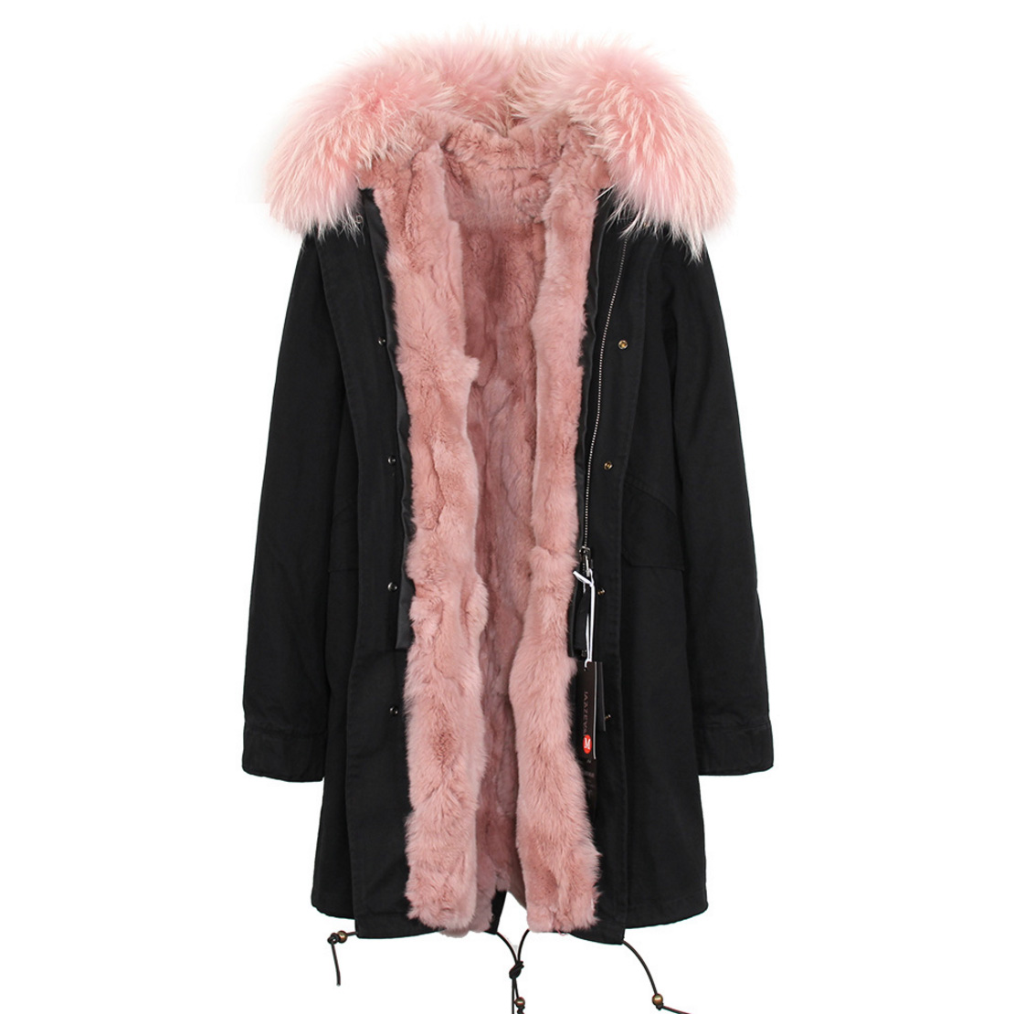Raccoon Fur Trimmed Hooded Parka with Detachable Rex Rabbit Fur Liner 118 Details b6