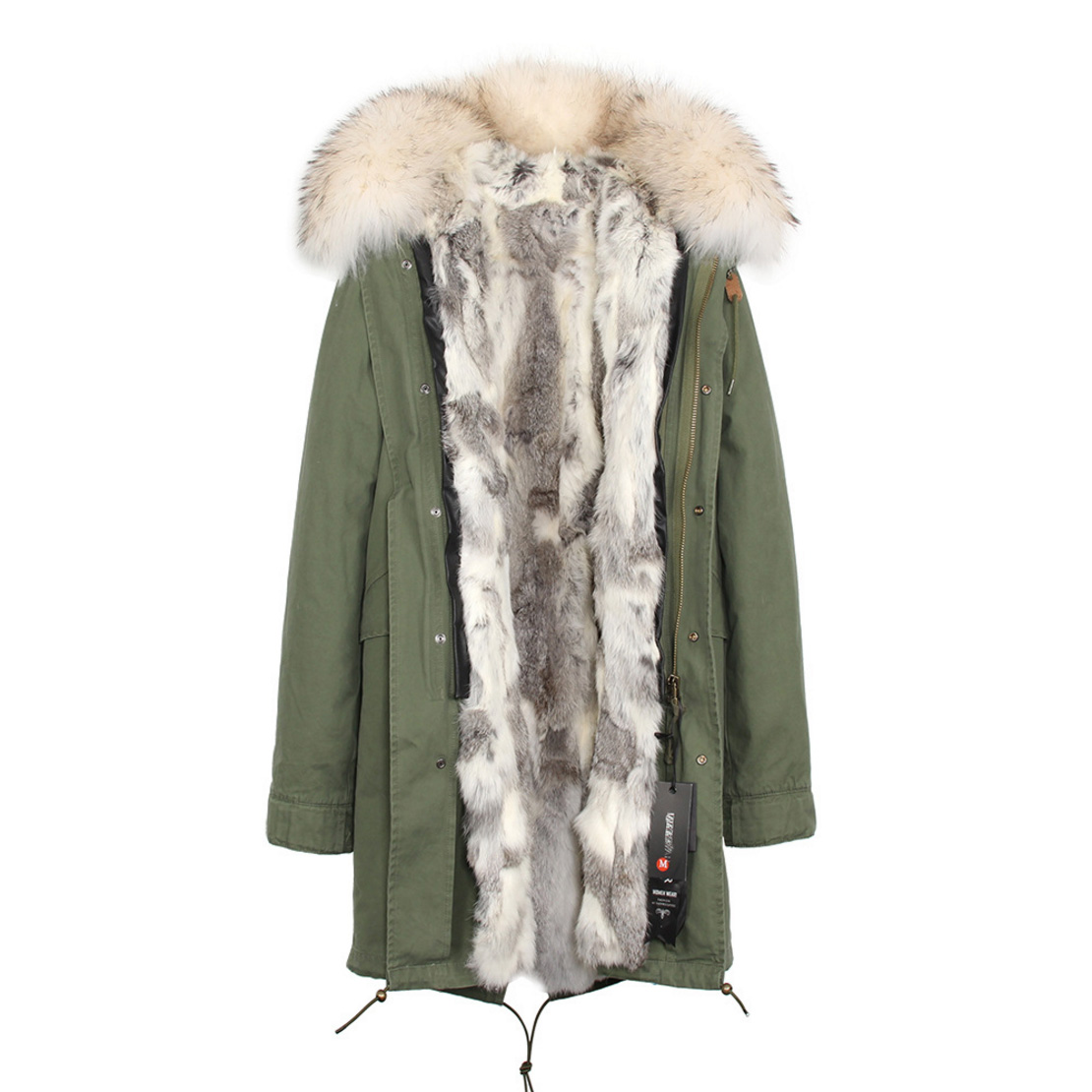 Raccoon Fur Trimmed Hooded Parka with Detachable Rex Rabbit Fur Liner 118 Details c2